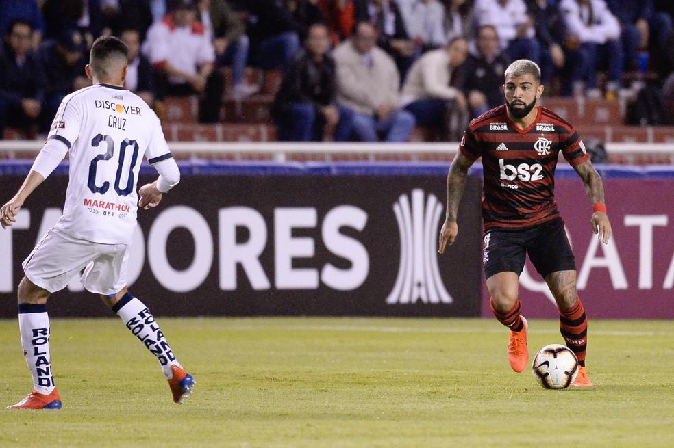 Gabigol durante o jogo contra a LDU — Foto: Alexandre Vidal/Flamengo