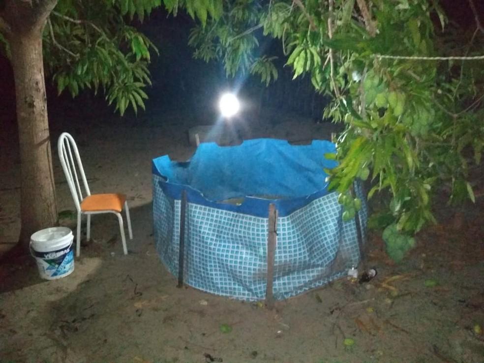 Arena usada para as rinhas de galo foi encontrada na casa do suspeito em Luís Correia, no litoral do Piauí — Foto: Divulgação/Batalhão de Polícia Ambiental