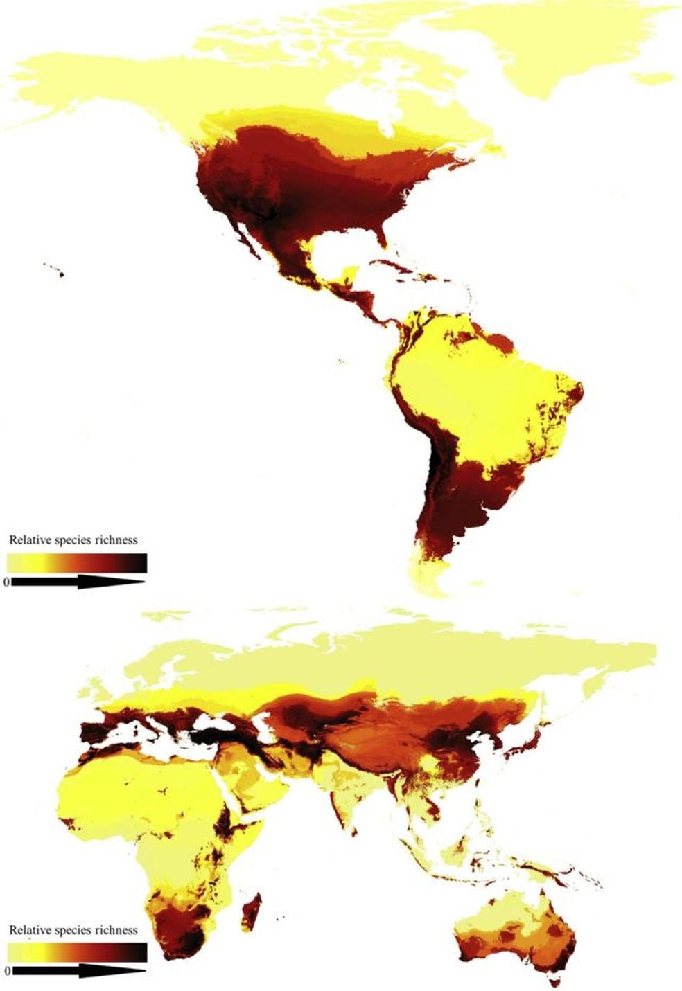 O primeiro mapa global de abelhas. — Foto: CURRENT BIOLOGY