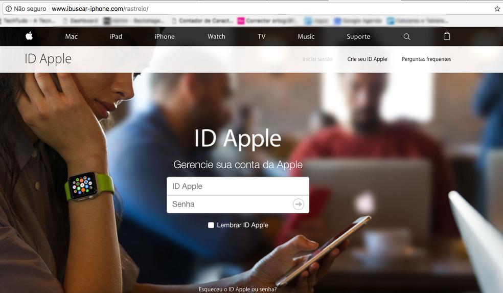 Site falso é uma cópia da página oficial de login do Apple ID (Foto: Reprodução/Anna Kellen Bull)