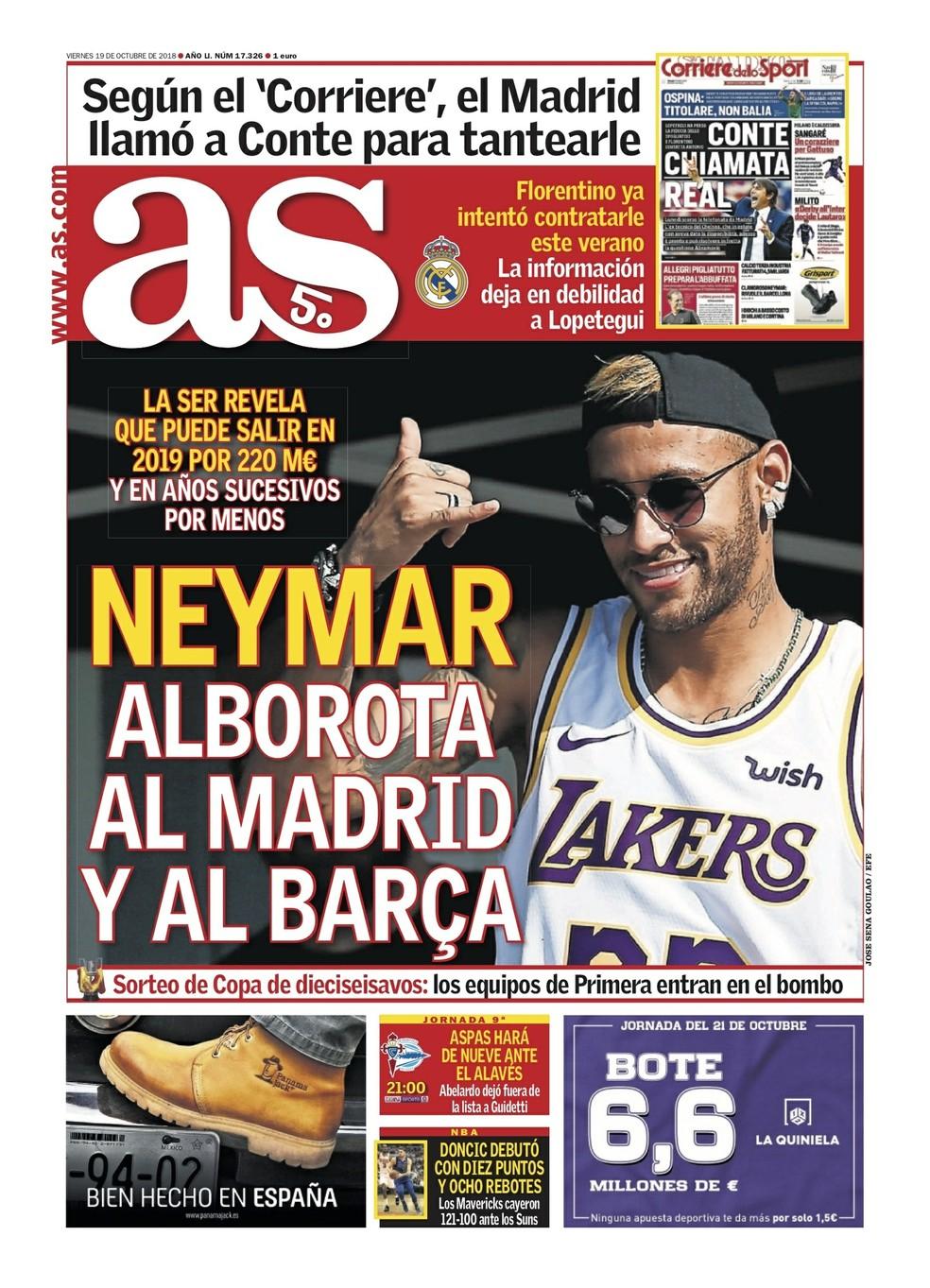 Neymar na capa do AS — Foto: Reprodução / Twitter
