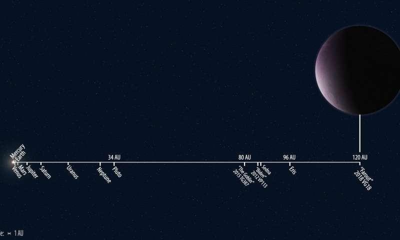 Representação da distância de 2018 VG18 até o Sol (Foto: Roberto Molar Candanosa and Scott S. Sheppard, Carnegie Institution for Science)