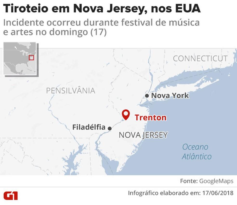 Veja onde ocorreu o tiroteio em Nova Jersey. (Foto: Rodrigo Cunha/G1)