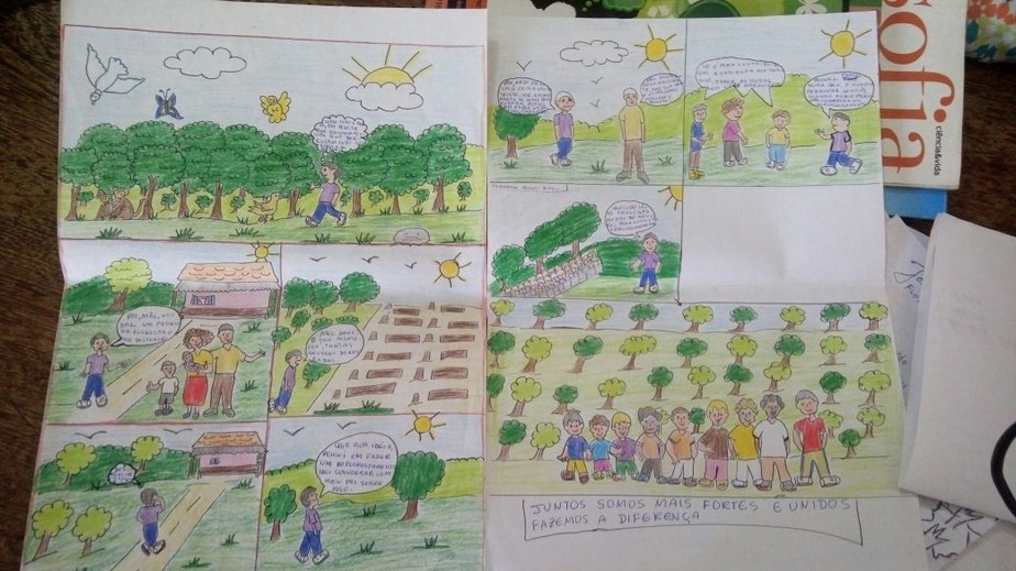 Inspirados por livros, alunos indígenas no Pará criam gibi sobre conservação ambiental