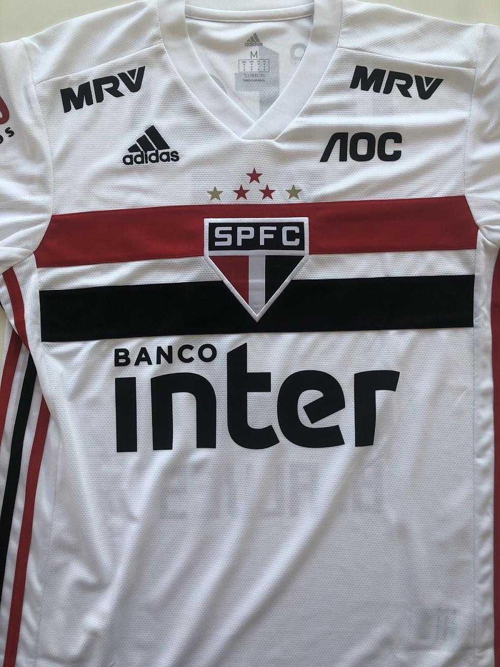 Foto da camisa do São Paulo para o Brasileirão com novo patrocinador — Foto: Marcelo Hazan