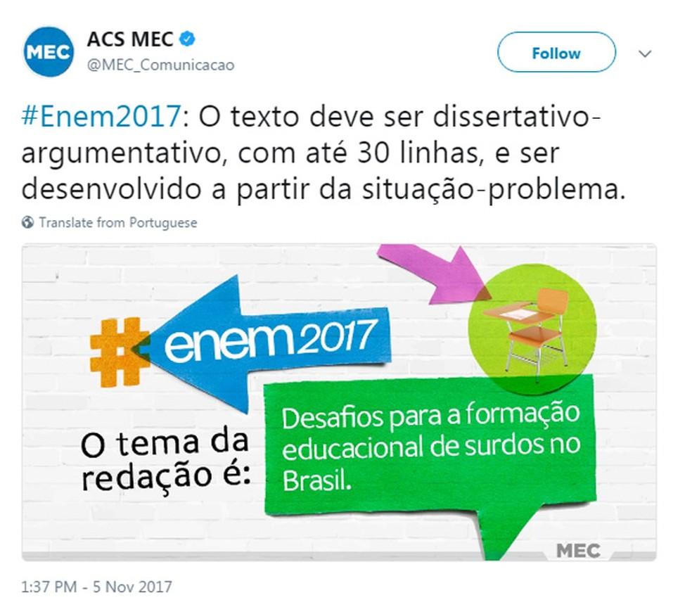 Tema da redação do Enem 2017 foi 'Desafios para a formação educacional de surdos no Brasil' (Foto: Reprodução/Twitter)