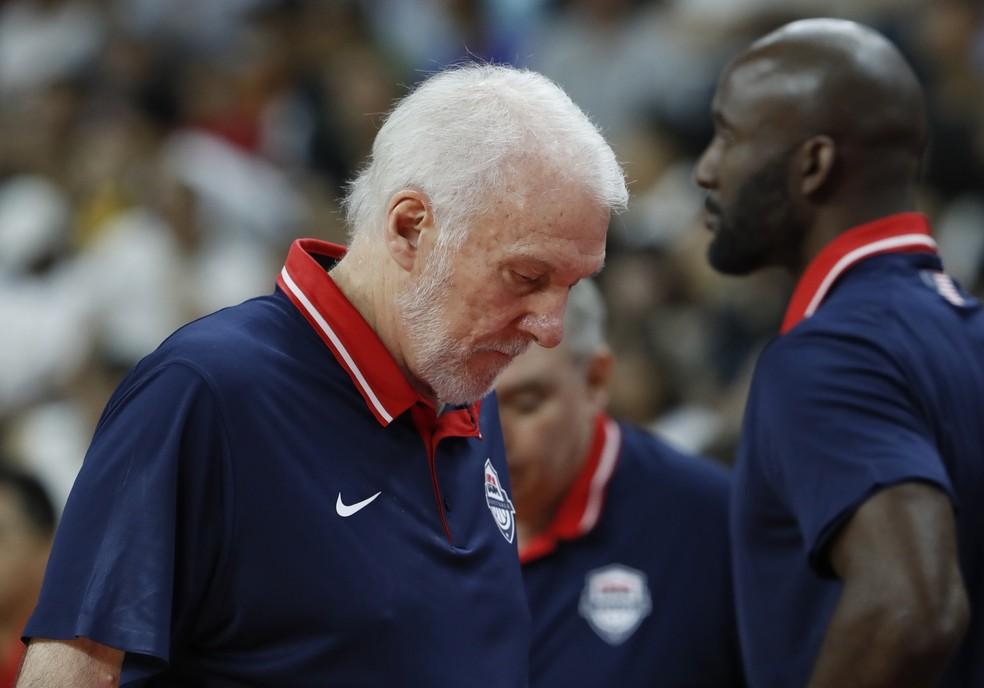 Técnico dos Estados Unidos após derrota para a França no basquete  — Foto: REUTERS/Kim Kyung-Hoon