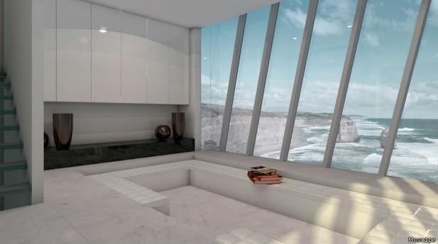 Casa possui três quartos (sendo uma suíte), um sala de estar, uma garagem, um lavabo e um spa a céu aberto e uma churrasqueira no andar mais baixo (Foto: Modscape)