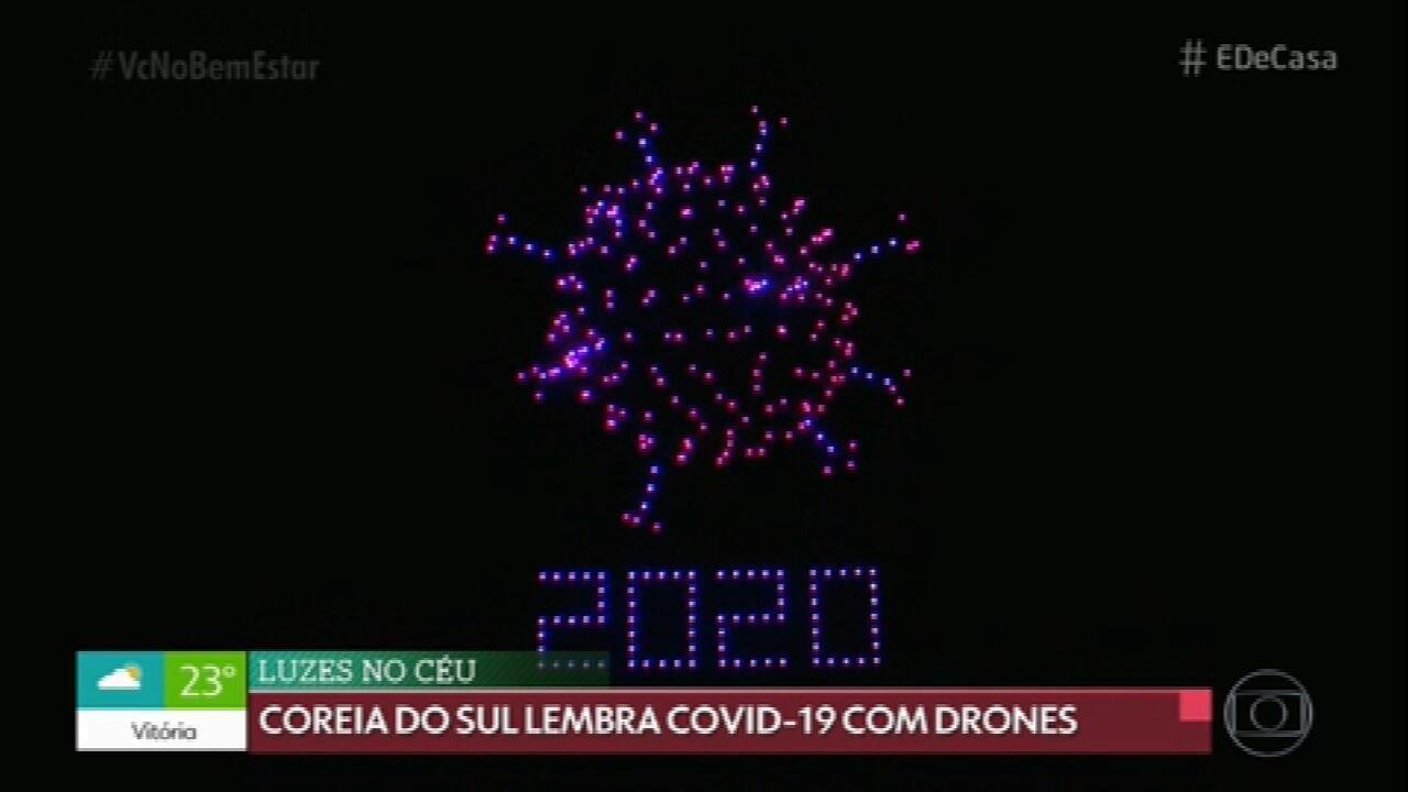 Drones lembram Covid-19 na Coreia do Sul
