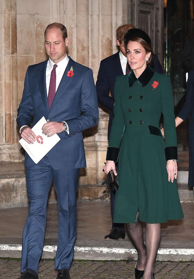Kate Middleton e Príncipe William deixam a Abadia de Westminster após a missa do Remembrance Day, em Londres (Foto: Getty Images)