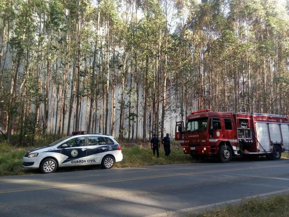 Guarda Municipal prestou apoio ao Corpo de Bombeiros durante incêndio em Pilar do Sul (Foto: Jornal da Cidade Salto de Pirapora/Divulgação)