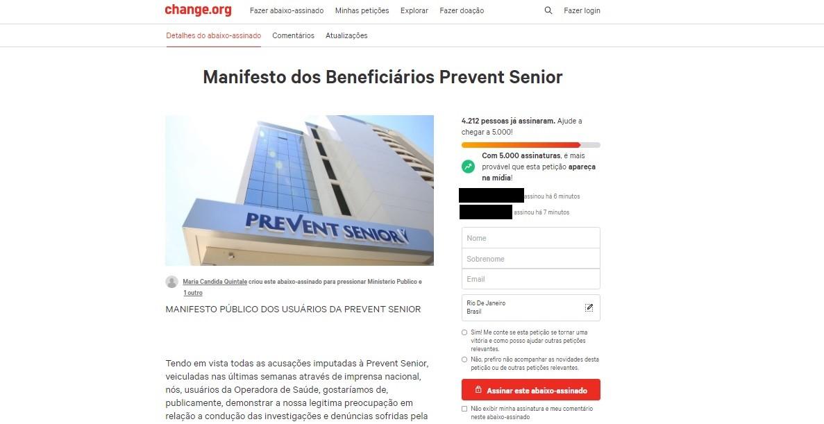 Temendo perder convênio, beneficiários da Prevent Senior fazem manifesto: 'não esqueçam de nós'
