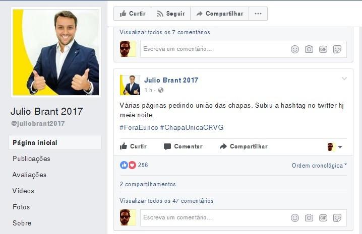 Página de Julio Brant no Facebook: post comenta a mobilização