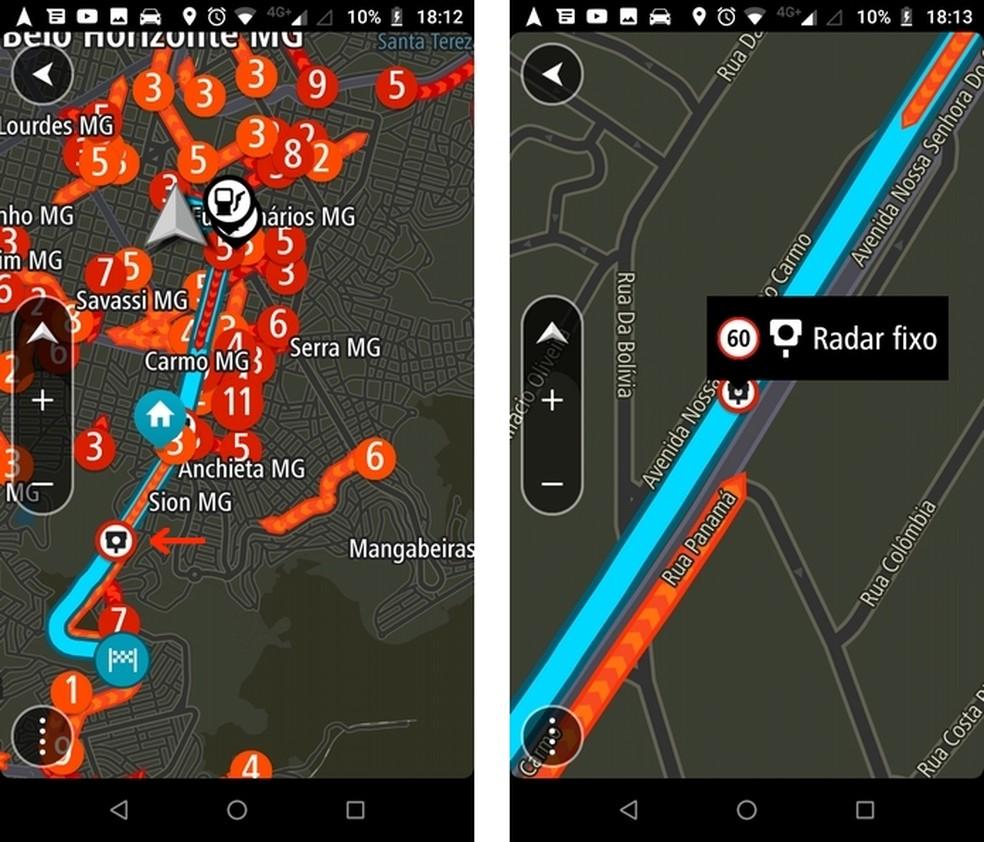 Limite de velocidade do radar eletrônico exibido no TomTom GO Brasil — Foto: Reprodução/Raquel Freire