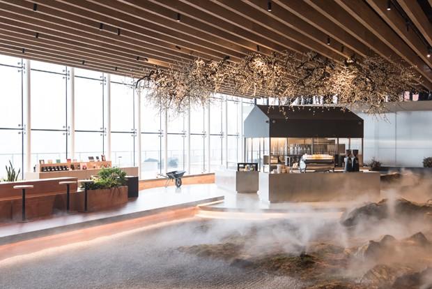 Café em Pequim tem um surpreendente jardim de musgos e névoa  (Foto: Divulgação)