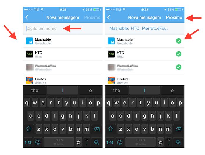 Selecionando contatos para criar uma mensagem direta em grupo no Twitter para iOS (Foto: Reprodução/Marvin Costa)