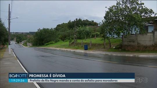 Moradores de Rio Negro reclamam de cobrança da prefeitura por obras de asfalto