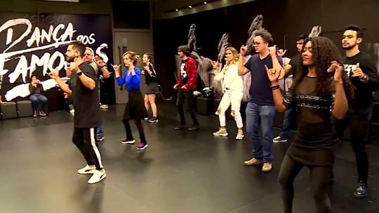 Participantes se divertem e mostram rebolado em aula inaugural do 'Dança dos Famosos 2018'