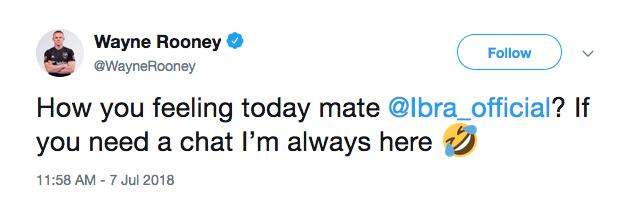 A provocação feita por Wayne Rooney a Zlatan Ibrahimovic em seguida à derrota da Suécia para a Inglaterra na Copa do Mundo (Foto: Twitter)