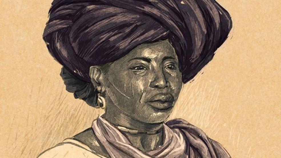 Como não há registros fotográficos de Adelina, a charuteira, ilustração foi baseada em fotografias de escravas minas que viviam no Maranhão na época — Foto: André Valente/BBC Brasil