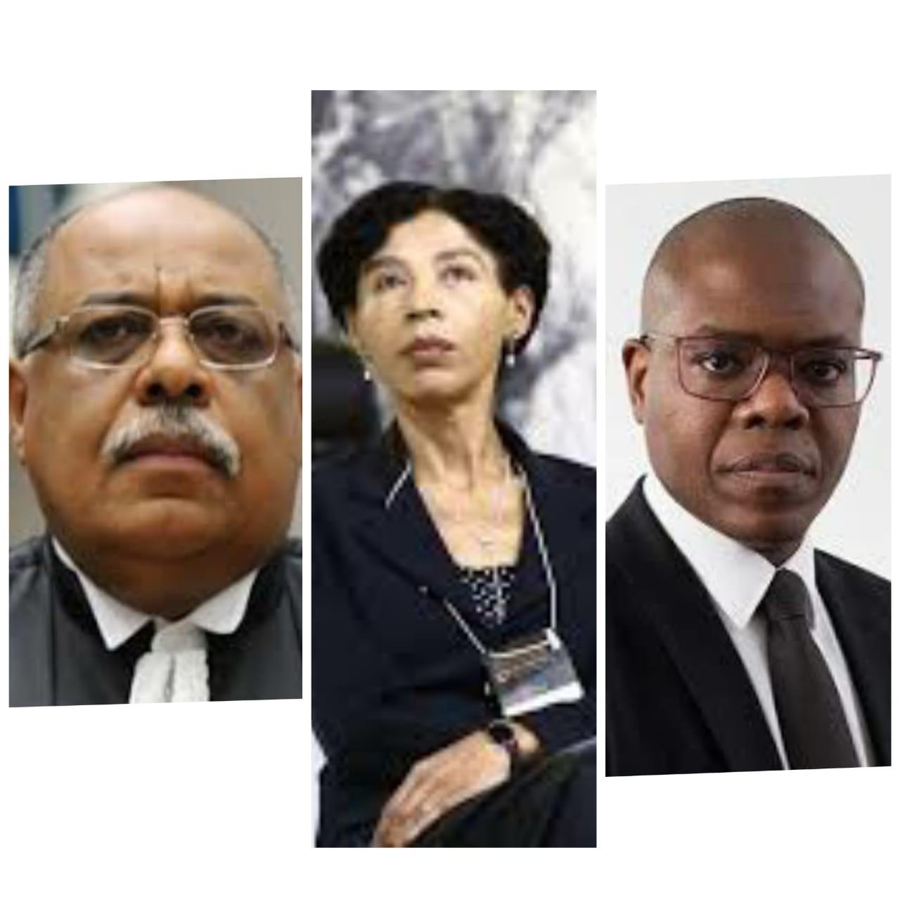 O ministro  Benedito Gonçalves (presidente), a desembargadora Maria Ivatonia (vice-presidente) e o advogado e filósofo Silvio Almeida (relator-geral)