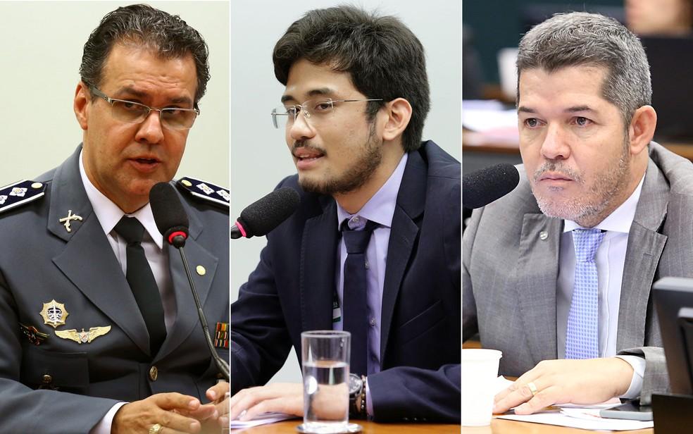 Os deputados eleitos Capitão Augusto (PR-SP), Kim Kataguiri (DEM-SP) e Delegado Waldir (PSL-GO) — Foto: Cleia Viana; Michel Jesus; Antonio Augusto/Câmara dos Deputados