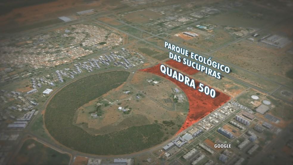 Local onde deve ser construída quadra 500 do Sudoeste — Foto: Reprodução/TV Globo
