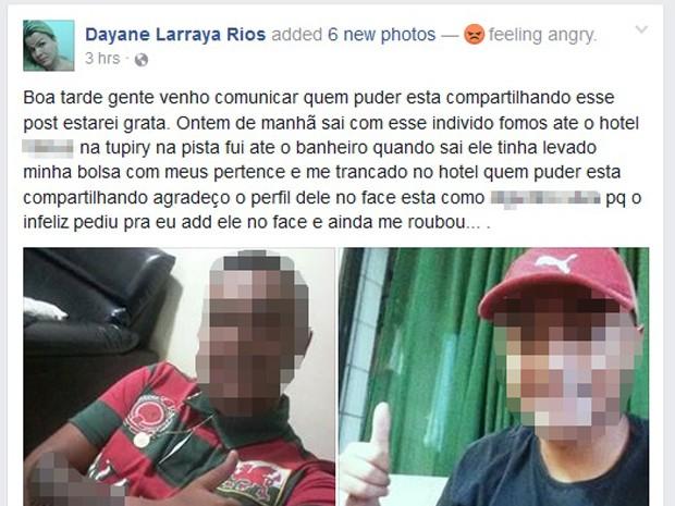 Travesti fez postagem acusando cliente de roubá-la (Foto: Reprodução/Facebook)