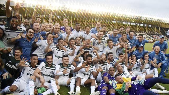 Jogadores do Palmeiras comemoram o título brasileiro