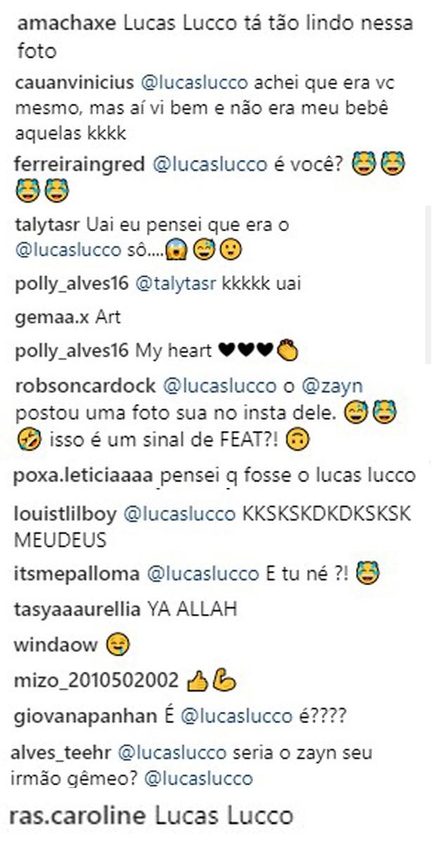 Fãs comparam Zayn Malik loiro com Lucas Lucco (Foto: Reprodução/Instagram)