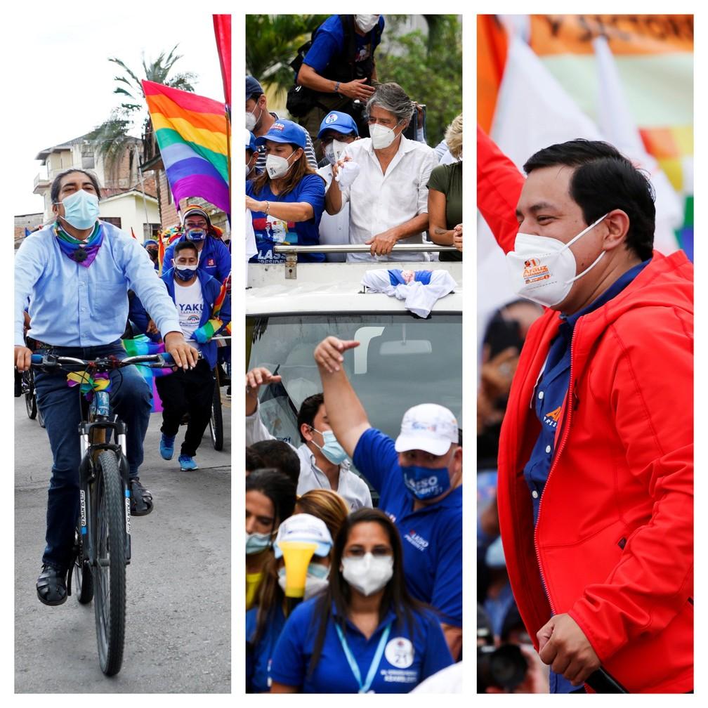 Imagens das eleições no Equador; Yaku Pérez, Guillermo Lasso e Andrés Arauz em campanha — Foto: Reuters