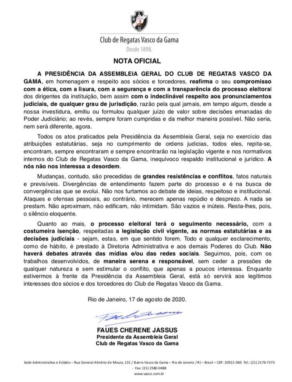 Nota oficial de Mussa — Foto: Reprodução