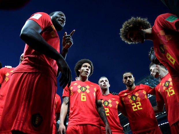 KAZAN, RUSSIA - JULY 06:  Romelu Lukaku of Belgium motivates team mates prior to  during the 2018 FIFA World Cup Russia Quarter Final match between Brazil and Belgium at Kazan Arena on July 6, 2018 in Kazan, Russia.  (Photo by Shaun Botterill/Getty Images (Foto: Getty Images)