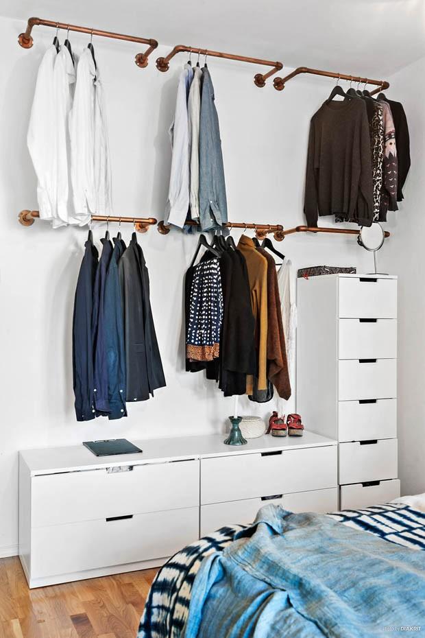 Guarda roupa aberto como fazer o seu casa vogue ambientes - Storage ideas for clothes in small bedroom ...