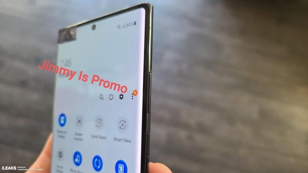 Galaxy Note 20 poderá vir com um furo na tela para a câmera frontal — Foto: Reprodução/Jimmy Is Promo