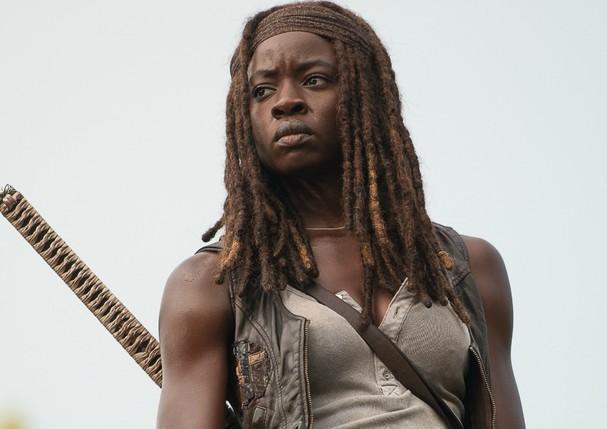 Cena de The Walking Dead, série em que Danai Gurira interpreta a personagem Michonne (Foto: Reprodução)