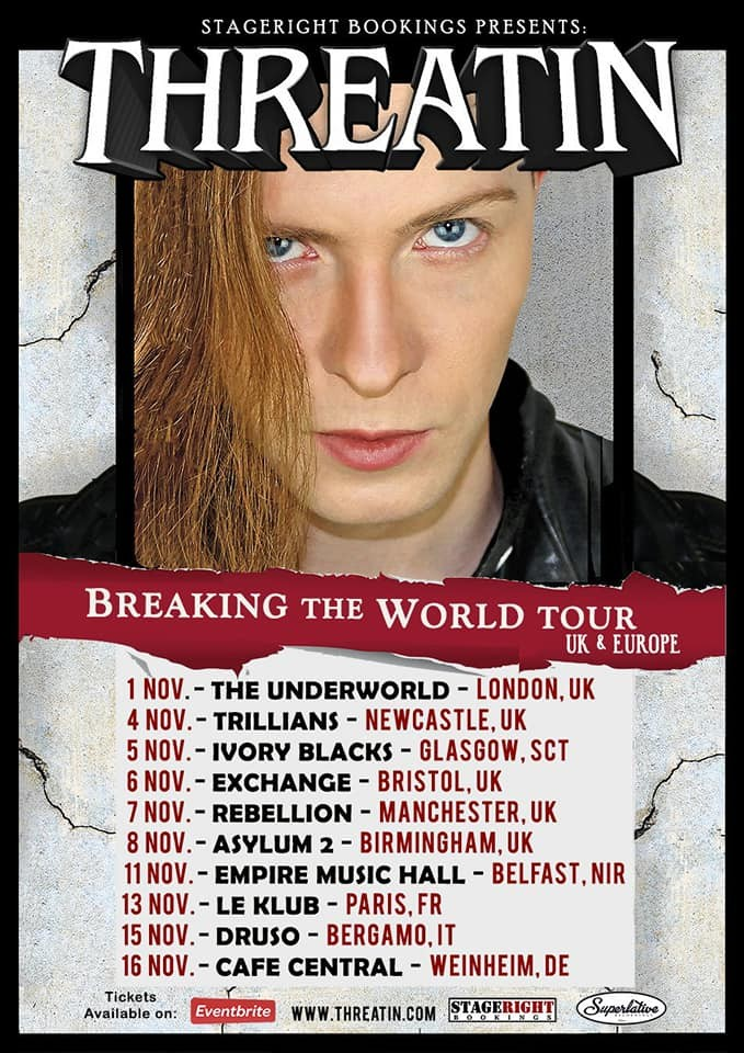 O cartaz da turnê europeia da banda de metal norte-americana Threatin (Foto: Divulgação)