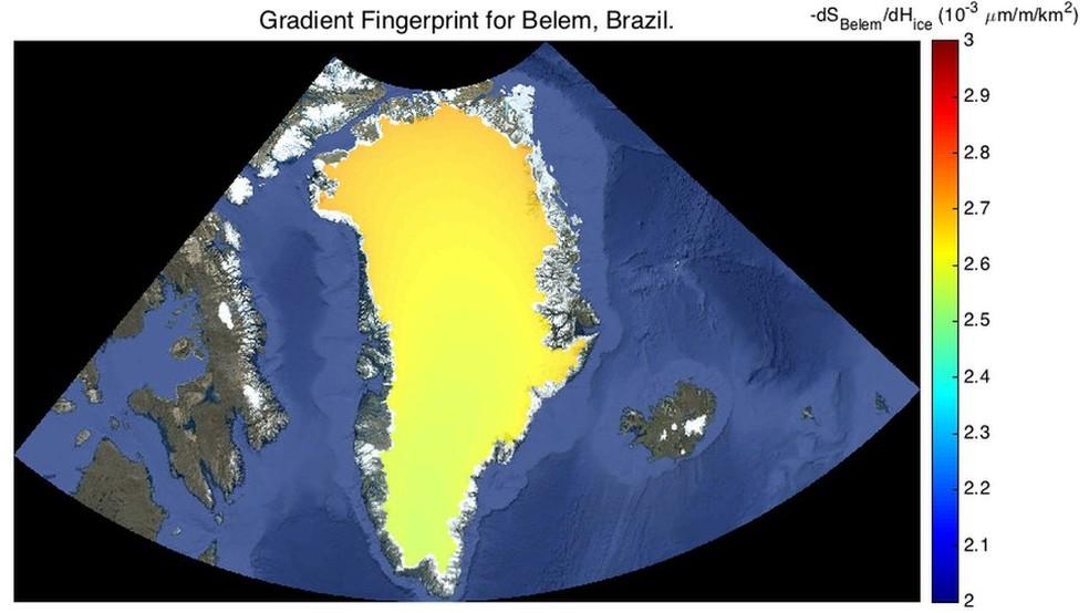 Apesar de estar no norte do Brasil, Belém é menos afetada pelo derretimento na Groenlândia do que Recife e Rio  (Foto: JPL Nasa)