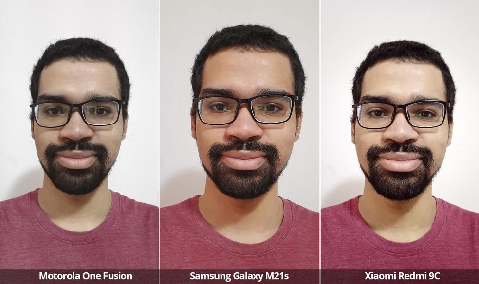 Comparativo das câmeras frontais do Motorola One Fusion, Samsung Galaxy M21s e Xiaomi Redmi 9C sob luz interna. — Foto: Arquivo pessoal