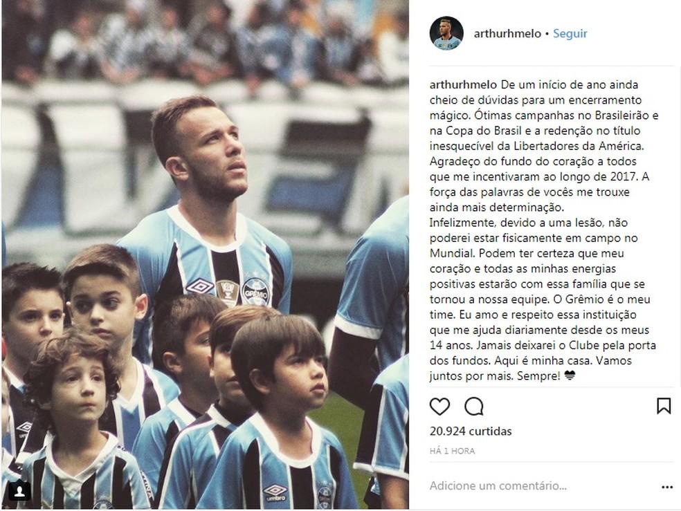 Arthur volante Grêmio (Foto: Reprodução, Instagram)