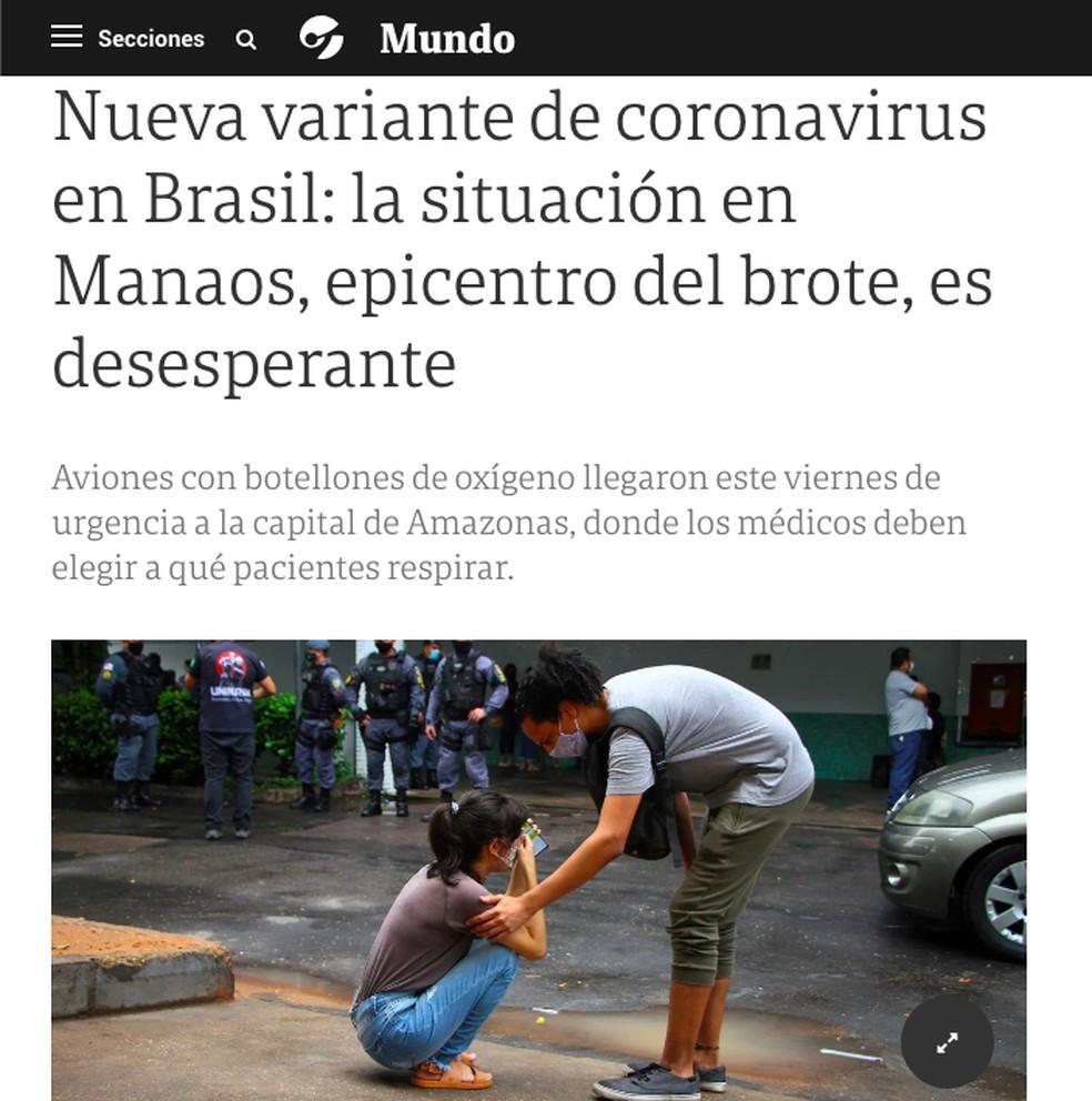 Clarín: imprensa internacional repercute caos nos hospitais de Manaus — Foto: Reprodução/clarin.com