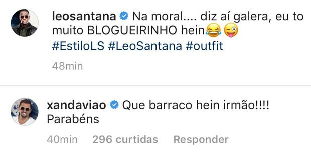 Comentário de Xand na foto de Léo Santana (Foto: Reprodução/Instagram)