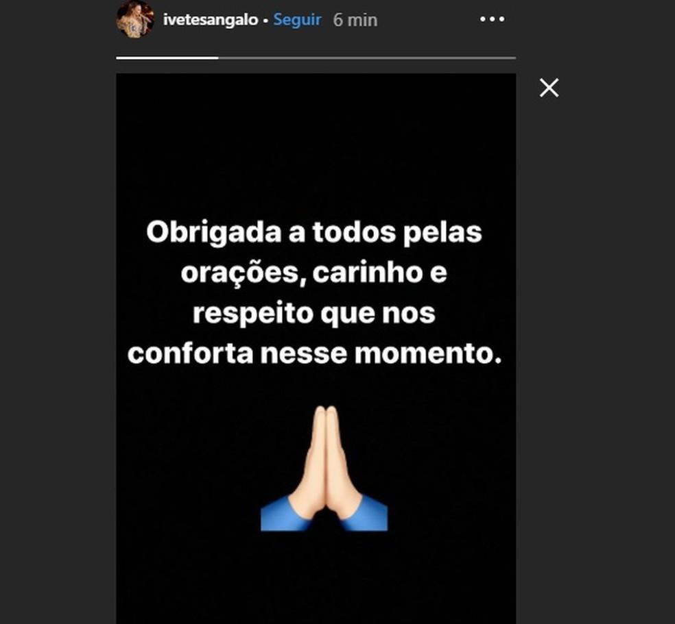 Ivete Sangalo agradece orações, carinho e respeito por morte de irmão — Foto: Reprodução/Redes Sociais