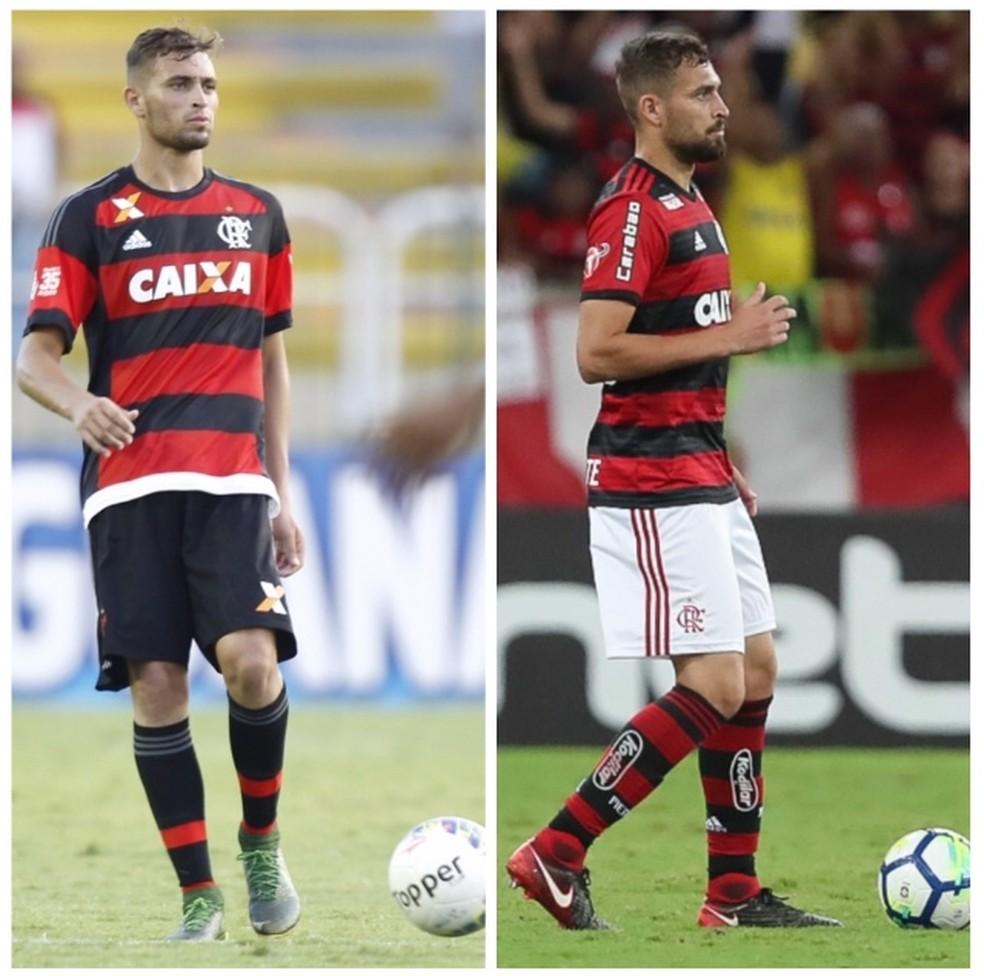 Leo Duarte, quando subiu, em 2016, e agora: menos gordura, mais massa magra e equilíbrio — Foto: Gilvan de Souza / Flamengo