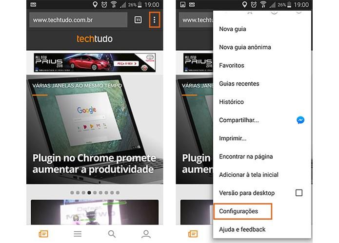 Acesse as configurações do Chrome para Android (Foto: Reprodução/Barbara Mannara) (Foto: Acesse as configurações do Chrome para Android (Foto: Reprodução/Barbara Mannara))