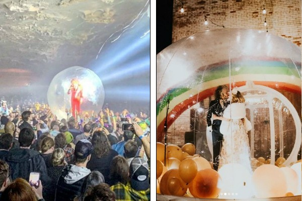 Wayne Coyne em um show e em seu casamento (Foto: Reprodução / Instagram)