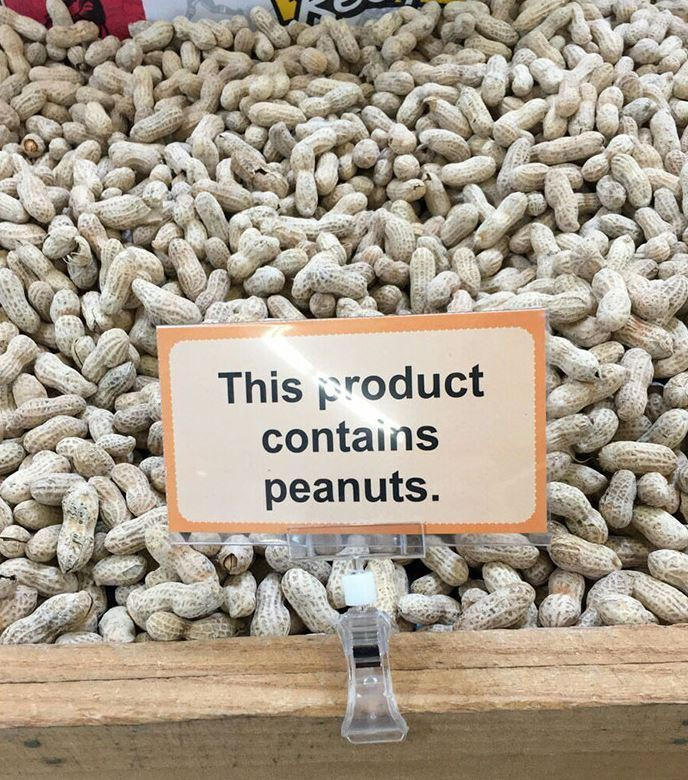 'Contém amendoim'... Ah é mesmo???