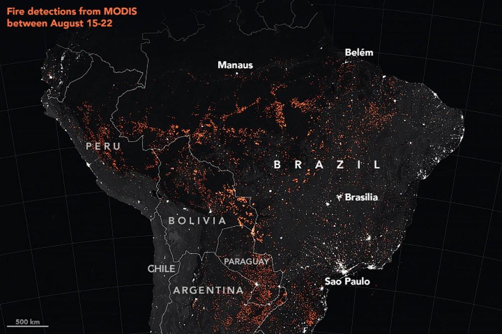 Focos de queimadas detectados pelos sensores Modis da Nasa entre 15 e 22 de agosto de 2019 — Foto: Nasa