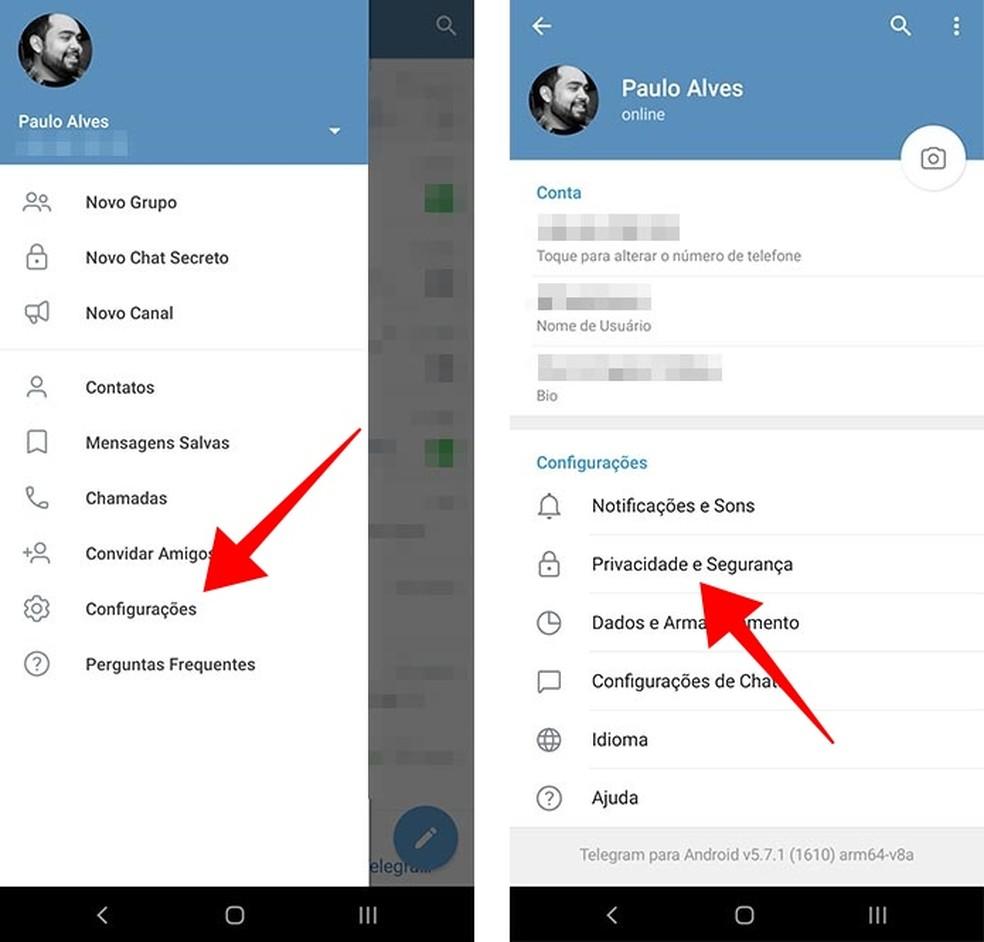 Acesse as configurações de privacidade e segurança do Telegram — Foto: Reprodução/Paulo Alves