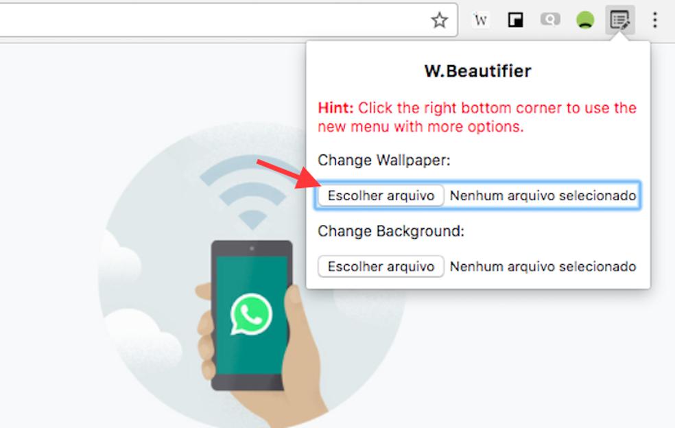 Opção para escolher uma imagem como papel de parede do WhatsApp Web (Foto: Reprodução/Marvin Costa)